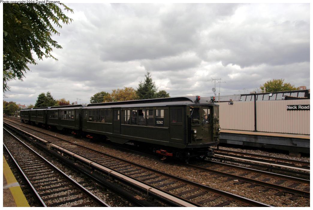 (183k, 1044x701)<br><b>Country:</b> United States<br><b>City:</b> New York<br><b>System:</b> New York City Transit<br><b>Line:</b> BMT Brighton Line<br><b>Location:</b> Neck Road<br><b>Route:</b> Fan Trip<br><b>Car:</b> Low-V (Museum Train) 5292 <br><b>Photo by:</b> David Pirmann<br><b>Date:</b> 10/23/2004<br><b>Viewed (this week/total):</b> 4 / 4368