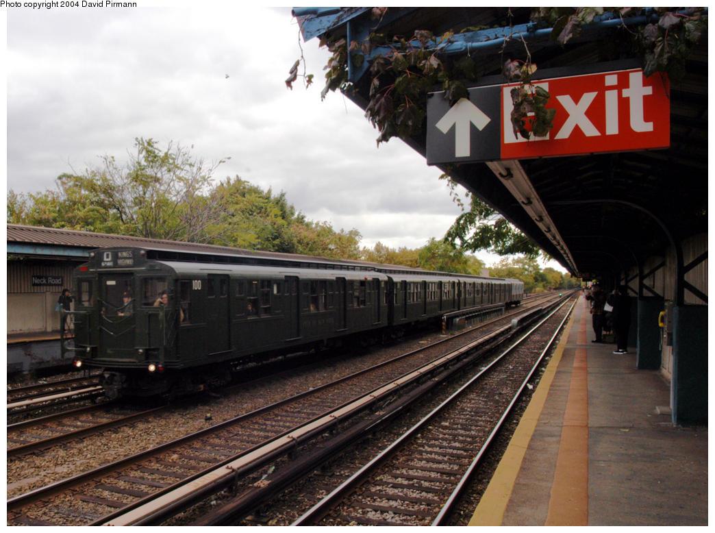 (208k, 1044x778)<br><b>Country:</b> United States<br><b>City:</b> New York<br><b>System:</b> New York City Transit<br><b>Line:</b> BMT Brighton Line<br><b>Location:</b> Neck Road<br><b>Route:</b> Fan Trip<br><b>Car:</b> R-1 (American Car & Foundry, 1930-1931) 100 <br><b>Photo by:</b> David Pirmann<br><b>Date:</b> 10/23/2004<br><b>Viewed (this week/total):</b> 0 / 5886