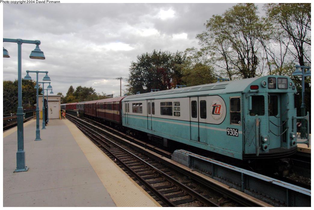 (198k, 1044x701)<br><b>Country:</b> United States<br><b>City:</b> New York<br><b>System:</b> New York City Transit<br><b>Line:</b> BMT Brighton Line<br><b>Location:</b> Sheepshead Bay<br><b>Route:</b> Fan Trip<br><b>Car:</b> R-33 World's Fair (St. Louis, 1963-64) 9306 <br><b>Photo by:</b> David Pirmann<br><b>Date:</b> 10/23/2004<br><b>Viewed (this week/total):</b> 1 / 4964