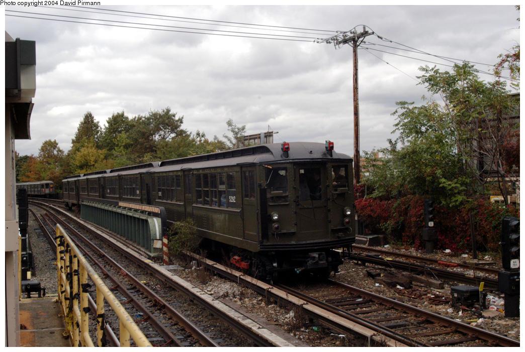 (194k, 1044x701)<br><b>Country:</b> United States<br><b>City:</b> New York<br><b>System:</b> New York City Transit<br><b>Line:</b> BMT Brighton Line<br><b>Location:</b> Sheepshead Bay<br><b>Route:</b> Fan Trip<br><b>Car:</b> Low-V (Museum Train) 5292 <br><b>Photo by:</b> David Pirmann<br><b>Date:</b> 10/23/2004<br><b>Viewed (this week/total):</b> 1 / 4262