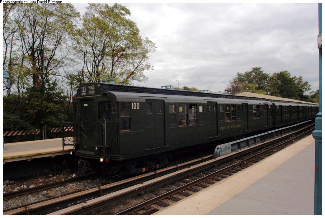 (190k, 1044x701)<br><b>Country:</b> United States<br><b>City:</b> New York<br><b>System:</b> New York City Transit<br><b>Line:</b> BMT Brighton Line<br><b>Location:</b> Sheepshead Bay<br><b>Route:</b> Fan Trip<br><b>Car:</b> R-1 (American Car & Foundry, 1930-1931) 100 <br><b>Photo by:</b> David Pirmann<br><b>Date:</b> 10/23/2004<br><b>Viewed (this week/total):</b> 7 / 4422