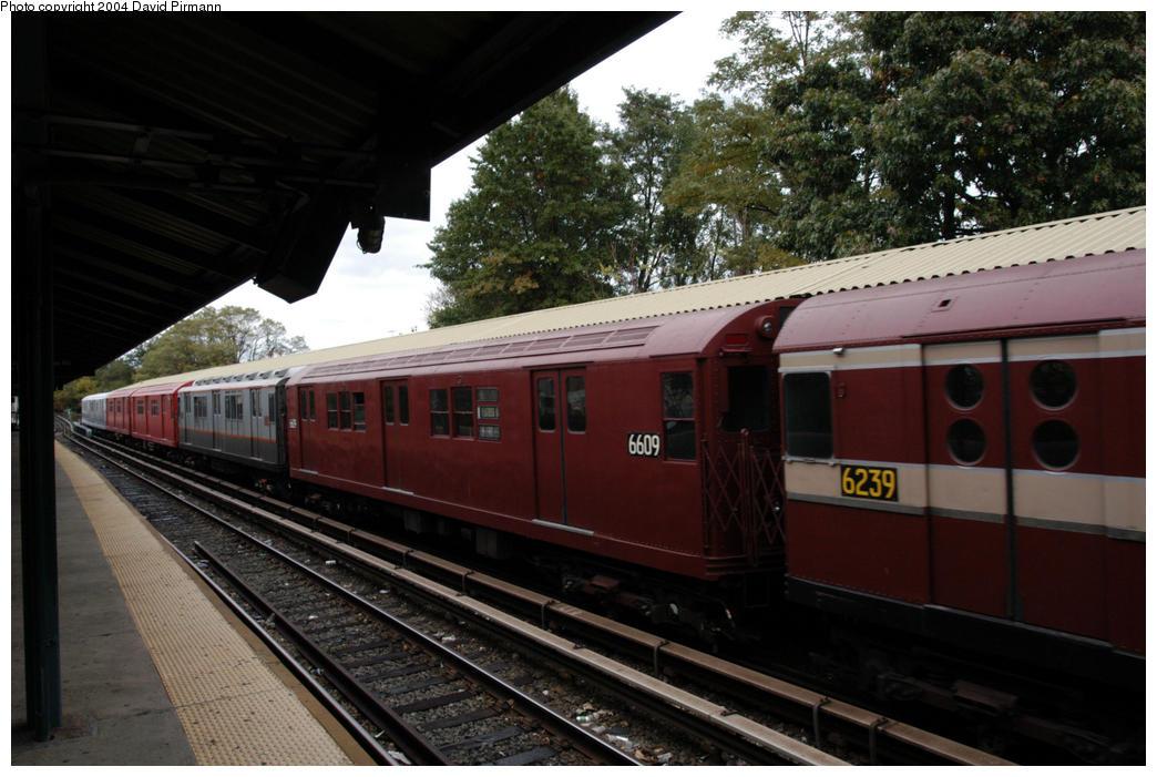 (172k, 1044x701)<br><b>Country:</b> United States<br><b>City:</b> New York<br><b>System:</b> New York City Transit<br><b>Line:</b> BMT Brighton Line<br><b>Location:</b> Sheepshead Bay<br><b>Route:</b> Fan Trip<br><b>Car:</b> R-17 (St. Louis, 1955-56) 6609 <br><b>Photo by:</b> David Pirmann<br><b>Date:</b> 10/23/2004<br><b>Viewed (this week/total):</b> 4 / 3343