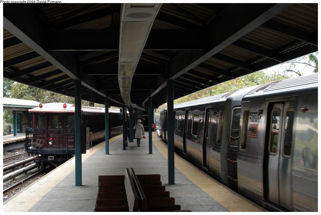 (168k, 1044x701)<br><b>Country:</b> United States<br><b>City:</b> New York<br><b>System:</b> New York City Transit<br><b>Line:</b> BMT Brighton Line<br><b>Location:</b> Sheepshead Bay<br><b>Route:</b> Fan Trip<br><b>Car:</b> BMT Elevated Gate Car 1404 <br><b>Photo by:</b> David Pirmann<br><b>Date:</b> 10/23/2004<br><b>Viewed (this week/total):</b> 3 / 5248