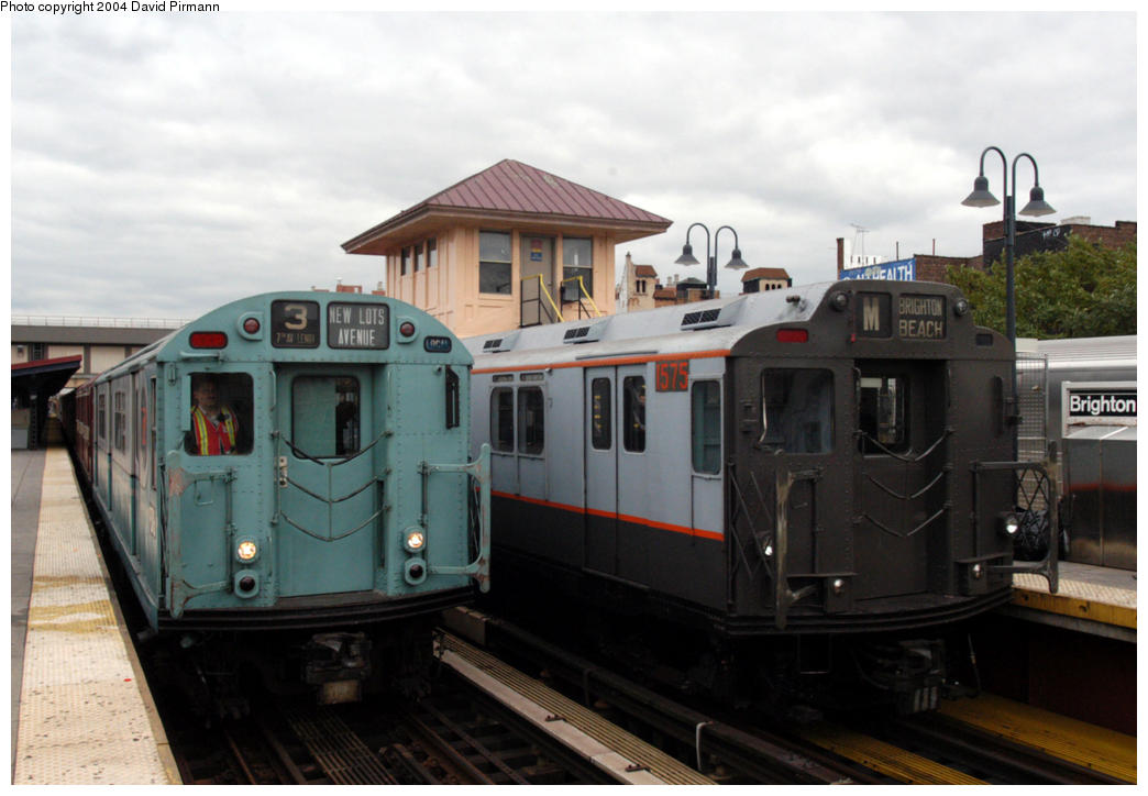 (150k, 1044x724)<br><b>Country:</b> United States<br><b>City:</b> New York<br><b>System:</b> New York City Transit<br><b>Line:</b> BMT Brighton Line<br><b>Location:</b> Brighton Beach<br><b>Route:</b> Fan Trip<br><b>Car:</b> R-33 World's Fair (St. Louis, 1963-64) 9306/1575 <br><b>Photo by:</b> David Pirmann<br><b>Date:</b> 10/23/2004<br><b>Viewed (this week/total):</b> 4 / 5080