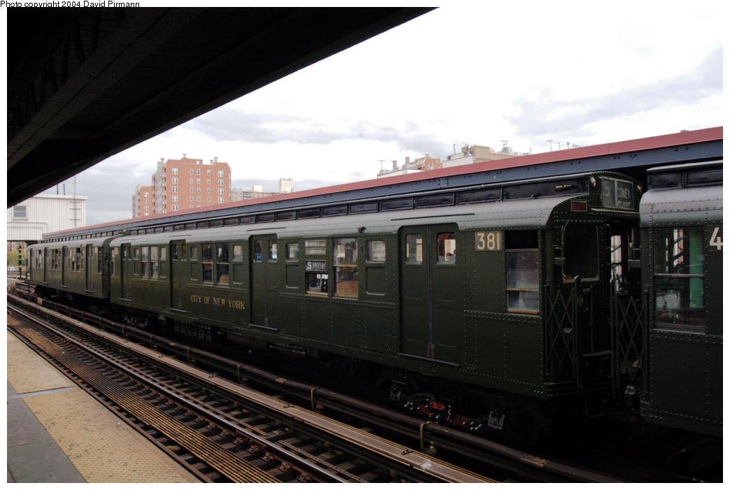 (153k, 1044x701)<br><b>Country:</b> United States<br><b>City:</b> New York<br><b>System:</b> New York City Transit<br><b>Line:</b> BMT Brighton Line<br><b>Location:</b> Brighton Beach<br><b>Route:</b> Fan Trip<br><b>Car:</b> R-1 (American Car & Foundry, 1930-1931) 381 <br><b>Photo by:</b> David Pirmann<br><b>Date:</b> 10/23/2004<br><b>Viewed (this week/total):</b> 0 / 3982