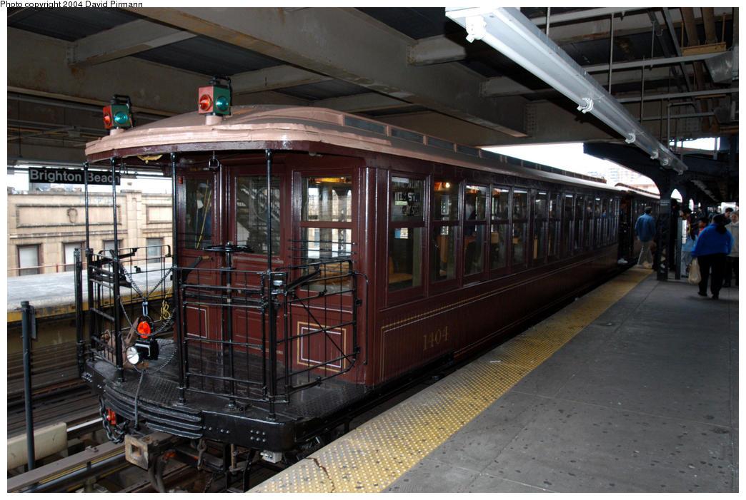 (187k, 1044x701)<br><b>Country:</b> United States<br><b>City:</b> New York<br><b>System:</b> New York City Transit<br><b>Line:</b> BMT Brighton Line<br><b>Location:</b> Brighton Beach<br><b>Route:</b> Fan Trip<br><b>Car:</b> BMT Elevated Gate Car 1404 <br><b>Photo by:</b> David Pirmann<br><b>Date:</b> 10/23/2004<br><b>Viewed (this week/total):</b> 7 / 5259