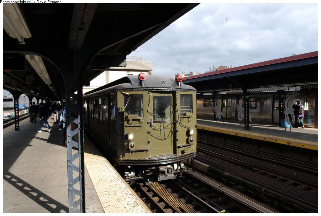 (168k, 1044x701)<br><b>Country:</b> United States<br><b>City:</b> New York<br><b>System:</b> New York City Transit<br><b>Line:</b> BMT Brighton Line<br><b>Location:</b> Brighton Beach<br><b>Route:</b> Fan Trip<br><b>Car:</b> Low-V (Museum Train) 5292 <br><b>Photo by:</b> David Pirmann<br><b>Date:</b> 10/23/2004<br><b>Viewed (this week/total):</b> 5 / 4513