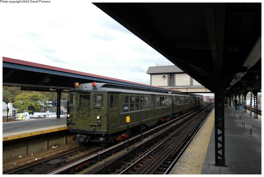 (156k, 1044x701)<br><b>Country:</b> United States<br><b>City:</b> New York<br><b>System:</b> New York City Transit<br><b>Line:</b> BMT Brighton Line<br><b>Location:</b> Brighton Beach<br><b>Route:</b> Fan Trip<br><b>Car:</b> Low-V (Museum Train) 5292 <br><b>Photo by:</b> David Pirmann<br><b>Date:</b> 10/23/2004<br><b>Viewed (this week/total):</b> 4 / 4727
