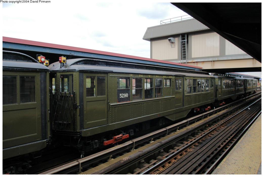 (165k, 1044x701)<br><b>Country:</b> United States<br><b>City:</b> New York<br><b>System:</b> New York City Transit<br><b>Line:</b> BMT Brighton Line<br><b>Location:</b> Brighton Beach<br><b>Route:</b> Fan Trip<br><b>Car:</b> Low-V (Museum Train) 5290 <br><b>Photo by:</b> David Pirmann<br><b>Date:</b> 10/23/2004<br><b>Viewed (this week/total):</b> 5 / 4958