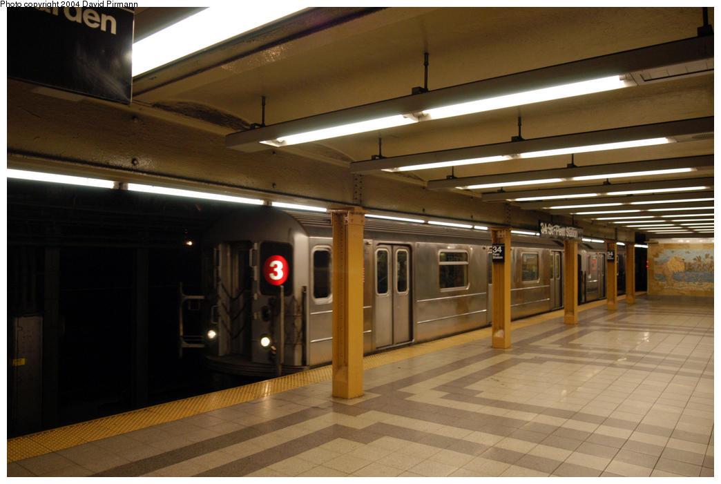 (156k, 1044x701)<br><b>Country:</b> United States<br><b>City:</b> New York<br><b>System:</b> New York City Transit<br><b>Line:</b> IRT West Side Line<br><b>Location:</b> 34th Street/Penn Station<br><b>Route:</b> 3<br><b>Car:</b> R-62 (Kawasaki, 1983-1985) 1331 <br><b>Photo by:</b> David Pirmann<br><b>Date:</b> 10/29/2004<br><b>Viewed (this week/total):</b> 2 / 4607