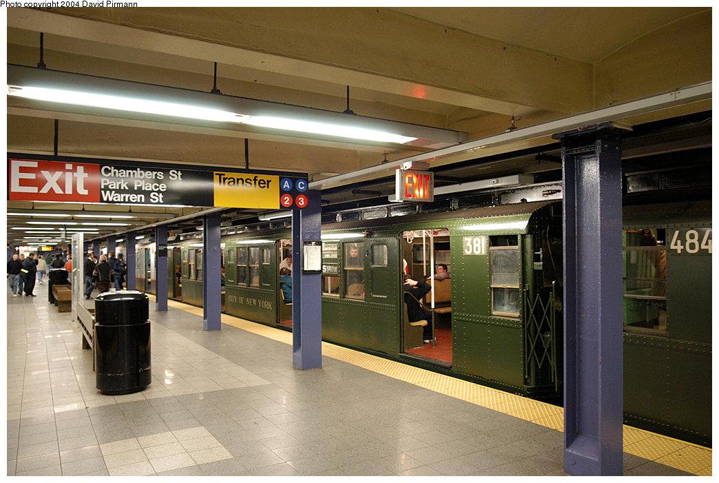 (255k, 1044x701)<br><b>Country:</b> United States<br><b>City:</b> New York<br><b>System:</b> New York City Transit<br><b>Line:</b> IND 8th Avenue Line<br><b>Location:</b> Chambers Street/World Trade Center<br><b>Route:</b> Fan Trip<br><b>Car:</b> R-1 (American Car & Foundry, 1930-1931) 381 <br><b>Photo by:</b> David Pirmann<br><b>Date:</b> 11/6/2004<br><b>Viewed (this week/total):</b> 2 / 4635