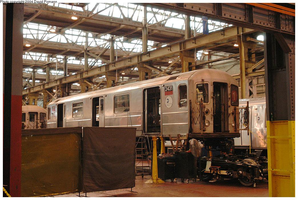 (297k, 1044x701)<br><b>Country:</b> United States<br><b>City:</b> New York<br><b>System:</b> New York City Transit<br><b>Location:</b> 207th Street Shop<br><b>Car:</b> R-62A (Bombardier, 1984-1987) 2431 <br><b>Photo by:</b> David Pirmann<br><b>Date:</b> 11/6/2004<br><b>Viewed (this week/total):</b> 0 / 3688