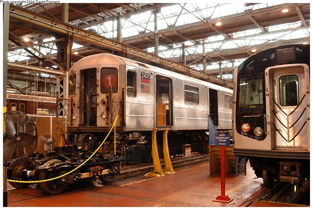 (309k, 1044x701)<br><b>Country:</b> United States<br><b>City:</b> New York<br><b>System:</b> New York City Transit<br><b>Location:</b> 207th Street Shop<br><b>Car:</b> R-62A (Bombardier, 1984-1987) 2431 <br><b>Photo by:</b> David Pirmann<br><b>Date:</b> 11/6/2004<br><b>Viewed (this week/total):</b> 4 / 3924