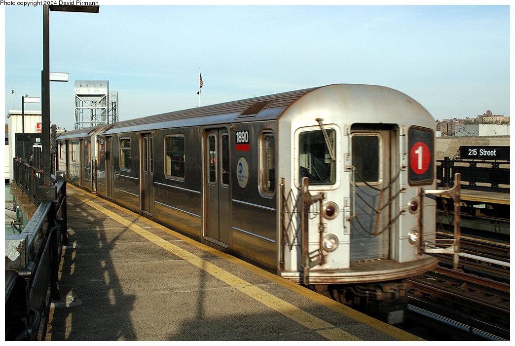 (244k, 1044x701)<br><b>Country:</b> United States<br><b>City:</b> New York<br><b>System:</b> New York City Transit<br><b>Line:</b> IRT West Side Line<br><b>Location:</b> 215th Street<br><b>Route:</b> 1<br><b>Car:</b> R-62A (Bombardier, 1984-1987) 1890 <br><b>Photo by:</b> David Pirmann<br><b>Date:</b> 11/6/2004<br><b>Viewed (this week/total):</b> 0 / 4175