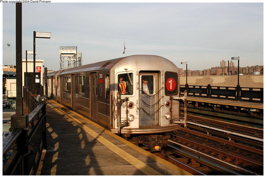 (257k, 1044x701)<br><b>Country:</b> United States<br><b>City:</b> New York<br><b>System:</b> New York City Transit<br><b>Line:</b> IRT West Side Line<br><b>Location:</b> 215th Street<br><b>Route:</b> 1<br><b>Car:</b> R-62A (Bombardier, 1984-1987) 2180 <br><b>Photo by:</b> David Pirmann<br><b>Date:</b> 11/6/2004<br><b>Viewed (this week/total):</b> 4 / 3278