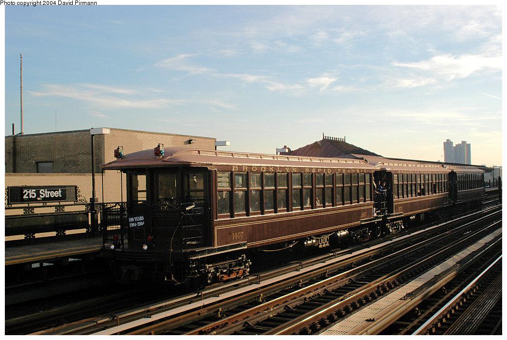 (255k, 1044x701)<br><b>Country:</b> United States<br><b>City:</b> New York<br><b>System:</b> New York City Transit<br><b>Line:</b> IRT West Side Line<br><b>Location:</b> 215th Street<br><b>Route:</b> Fan Trip<br><b>Car:</b> BMT Elevated Gate Car 1407-1273-1404 <br><b>Photo by:</b> David Pirmann<br><b>Date:</b> 11/6/2004<br><b>Viewed (this week/total):</b> 3 / 3419