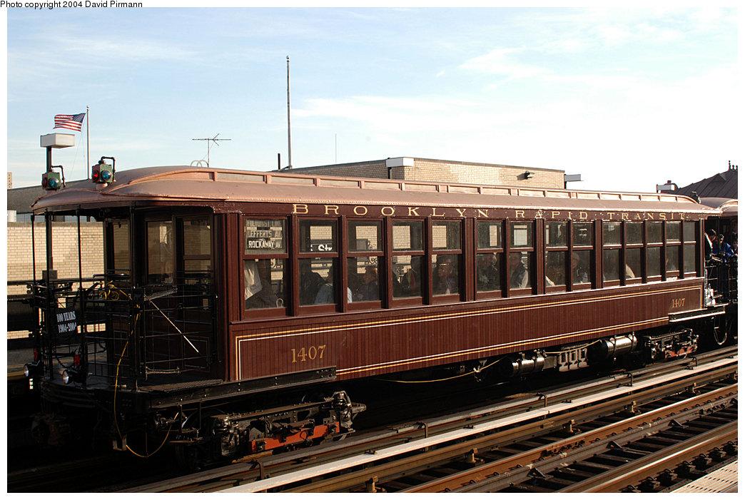 (257k, 1044x701)<br><b>Country:</b> United States<br><b>City:</b> New York<br><b>System:</b> New York City Transit<br><b>Line:</b> IRT West Side Line<br><b>Location:</b> 215th Street<br><b>Route:</b> Fan Trip<br><b>Car:</b> BMT Elevated Gate Car 1407 <br><b>Photo by:</b> David Pirmann<br><b>Date:</b> 11/6/2004<br><b>Viewed (this week/total):</b> 3 / 3468