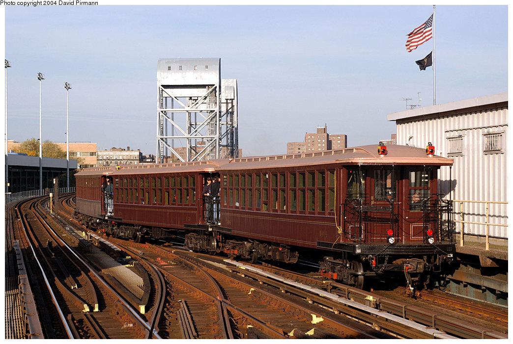 (270k, 1044x701)<br><b>Country:</b> United States<br><b>City:</b> New York<br><b>System:</b> New York City Transit<br><b>Line:</b> IRT West Side Line<br><b>Location:</b> 215th Street<br><b>Route:</b> Fan Trip<br><b>Car:</b> BMT Elevated Gate Car 1404-1273-1407 <br><b>Photo by:</b> David Pirmann<br><b>Date:</b> 11/6/2004<br><b>Viewed (this week/total):</b> 3 / 6043