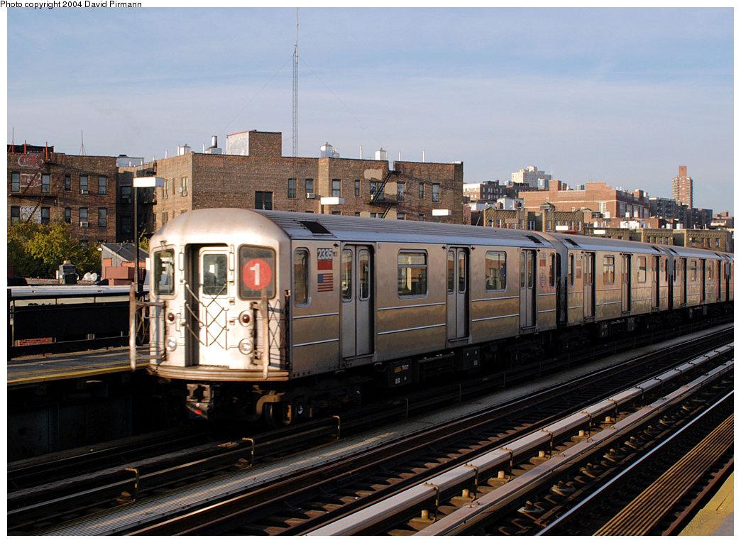 (275k, 1044x765)<br><b>Country:</b> United States<br><b>City:</b> New York<br><b>System:</b> New York City Transit<br><b>Line:</b> IRT West Side Line<br><b>Location:</b> 207th Street<br><b>Route:</b> 1<br><b>Car:</b> R-62A (Bombardier, 1984-1987) 2335 <br><b>Photo by:</b> David Pirmann<br><b>Date:</b> 11/6/2004<br><b>Viewed (this week/total):</b> 3 / 3301