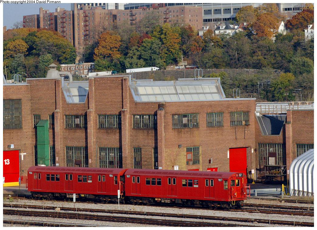 (352k, 1044x758)<br><b>Country:</b> United States<br><b>City:</b> New York<br><b>System:</b> New York City Transit<br><b>Location:</b> 207th Street Yard<br><b>Car:</b> R-33 Main Line (St. Louis, 1962-63) 9016-7 <br><b>Photo by:</b> David Pirmann<br><b>Date:</b> 11/6/2004<br><b>Viewed (this week/total):</b> 3 / 4214