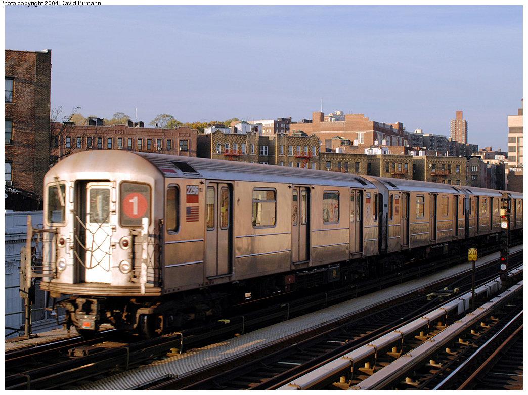 (280k, 1044x781)<br><b>Country:</b> United States<br><b>City:</b> New York<br><b>System:</b> New York City Transit<br><b>Line:</b> IRT West Side Line<br><b>Location:</b> 207th Street<br><b>Route:</b> 1<br><b>Car:</b> R-62A (Bombardier, 1984-1987) 2296 <br><b>Photo by:</b> David Pirmann<br><b>Date:</b> 11/6/2004<br><b>Viewed (this week/total):</b> 2 / 3453