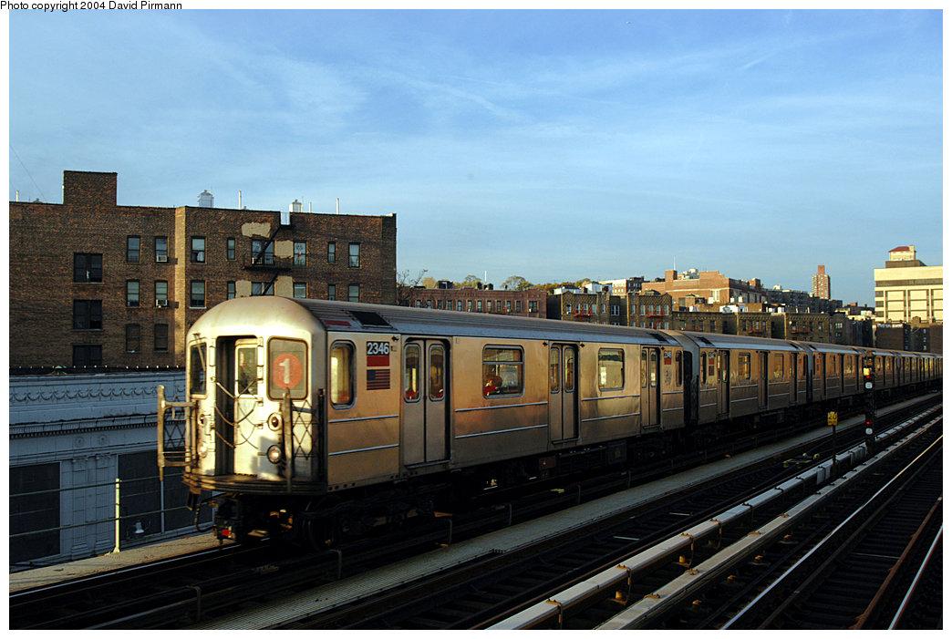 (228k, 1044x701)<br><b>Country:</b> United States<br><b>City:</b> New York<br><b>System:</b> New York City Transit<br><b>Line:</b> IRT West Side Line<br><b>Location:</b> 207th Street<br><b>Route:</b> 1<br><b>Car:</b> R-62A (Bombardier, 1984-1987) 2346 <br><b>Photo by:</b> David Pirmann<br><b>Date:</b> 11/6/2004<br><b>Viewed (this week/total):</b> 3 / 3642