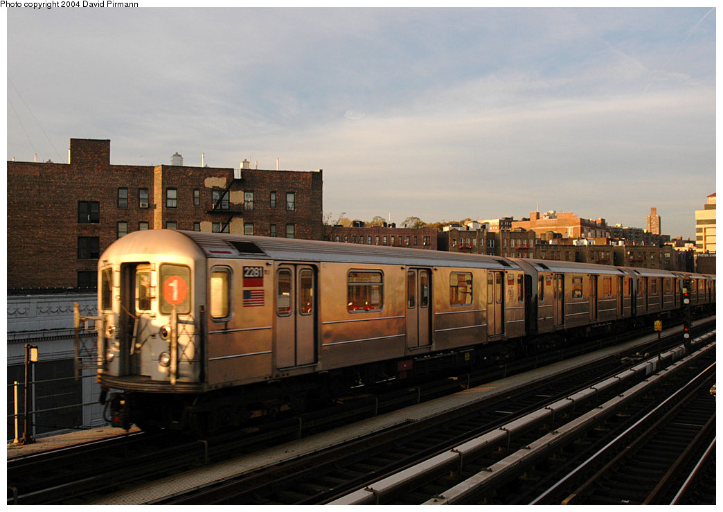 (217k, 1044x739)<br><b>Country:</b> United States<br><b>City:</b> New York<br><b>System:</b> New York City Transit<br><b>Line:</b> IRT West Side Line<br><b>Location:</b> 207th Street<br><b>Route:</b> 1<br><b>Car:</b> R-62A (Bombardier, 1984-1987) 2281 <br><b>Photo by:</b> David Pirmann<br><b>Date:</b> 11/6/2004<br><b>Viewed (this week/total):</b> 0 / 3691