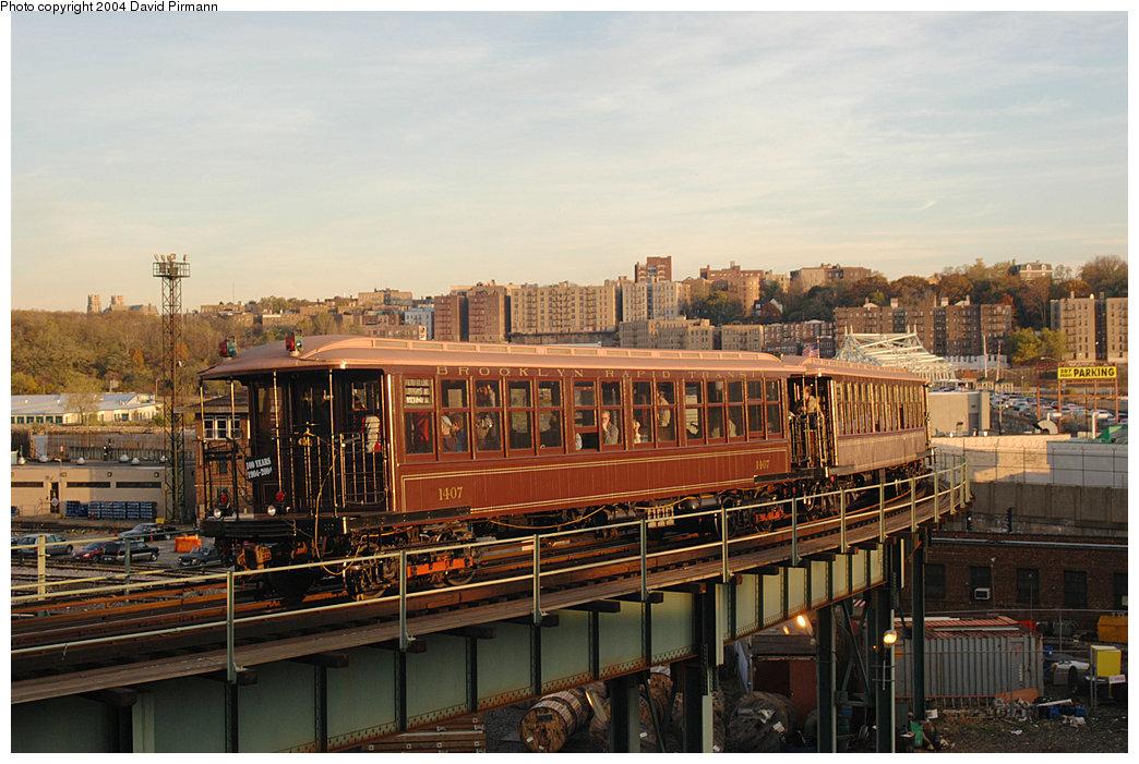 (268k, 1044x701)<br><b>Country:</b> United States<br><b>City:</b> New York<br><b>System:</b> New York City Transit<br><b>Location:</b> 207th Street Yard<br><b>Route:</b> Fan Trip<br><b>Car:</b> BMT Elevated Gate Car 1407-1273-1404 <br><b>Photo by:</b> David Pirmann<br><b>Date:</b> 11/6/2004<br><b>Viewed (this week/total):</b> 4 / 7382