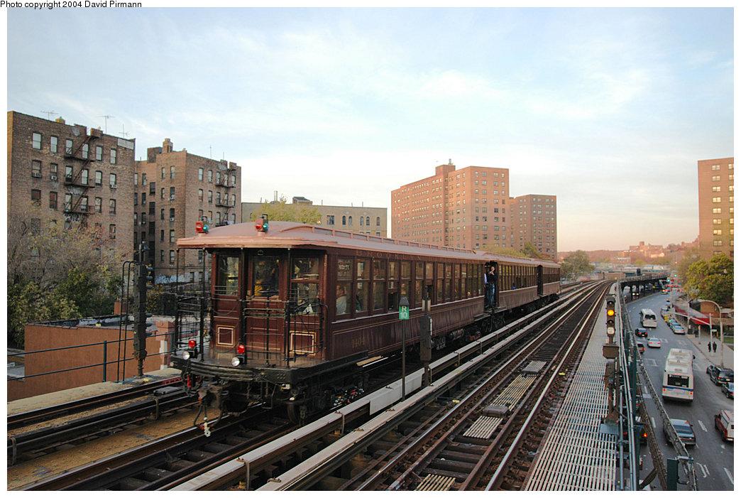 (266k, 1044x701)<br><b>Country:</b> United States<br><b>City:</b> New York<br><b>System:</b> New York City Transit<br><b>Line:</b> IRT West Side Line<br><b>Location:</b> 225th Street<br><b>Route:</b> Fan Trip<br><b>Car:</b> BMT Elevated Gate Car 1404-1273-1407 <br><b>Photo by:</b> David Pirmann<br><b>Date:</b> 11/6/2004<br><b>Viewed (this week/total):</b> 1 / 3802