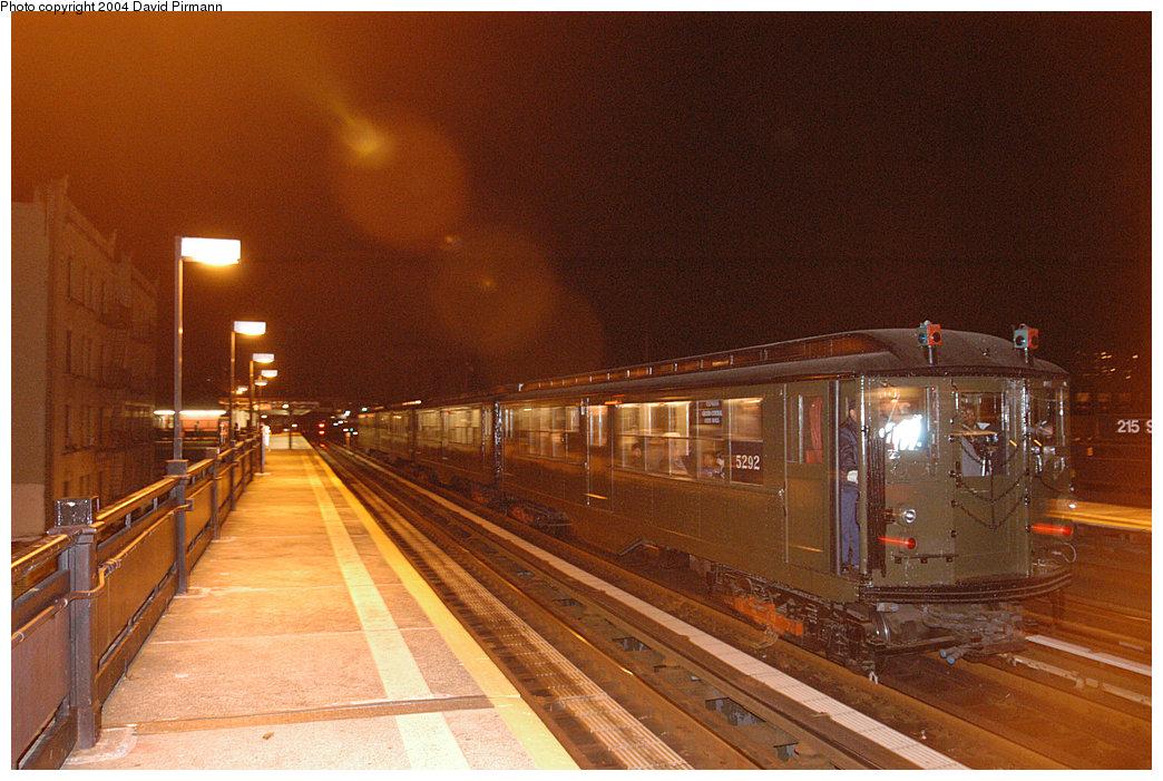 (276k, 1044x701)<br><b>Country:</b> United States<br><b>City:</b> New York<br><b>System:</b> New York City Transit<br><b>Line:</b> IRT West Side Line<br><b>Location:</b> 215th Street<br><b>Route:</b> Fan Trip<br><b>Car:</b> Low-V (Museum Train) 5292 <br><b>Photo by:</b> David Pirmann<br><b>Date:</b> 11/6/2004<br><b>Viewed (this week/total):</b> 2 / 3346