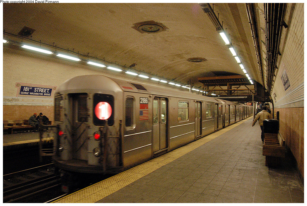 (317k, 1044x701)<br><b>Country:</b> United States<br><b>City:</b> New York<br><b>System:</b> New York City Transit<br><b>Line:</b> IRT West Side Line<br><b>Location:</b> 181st Street<br><b>Route:</b> 1<br><b>Car:</b> R-62A (Bombardier, 1984-1987) 2186 <br><b>Photo by:</b> David Pirmann<br><b>Date:</b> 11/6/2004<br><b>Viewed (this week/total):</b> 0 / 4011