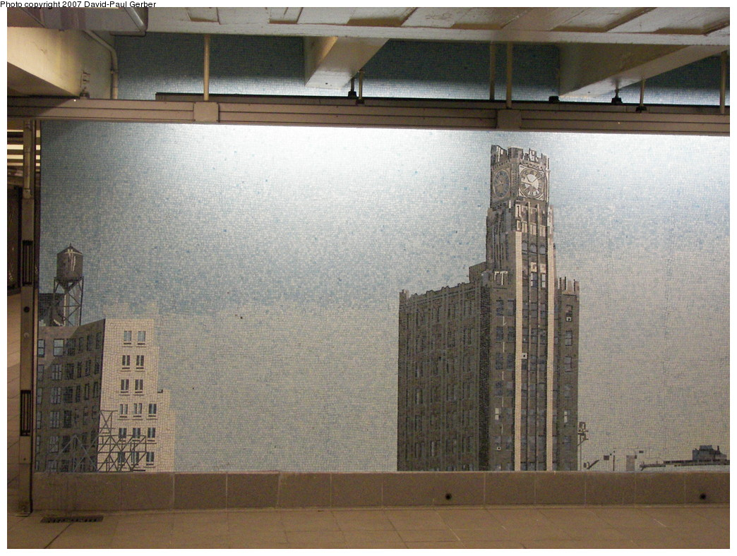 (296k, 1044x788)<br><b>Country:</b> United States<br><b>City:</b> New York<br><b>System:</b> New York City Transit<br><b>Line:</b> IND Queens Boulevard Line<br><b>Location:</b> Queens Plaza<br><b>Photo by:</b> David-Paul Gerber<br><b>Date:</b> 12/9/2007<br><b>Artwork:</b> <i>Look Up Not Down</i>, Ellen Harvey, 2005<br><b>Viewed (this week/total):</b> 4 / 3262