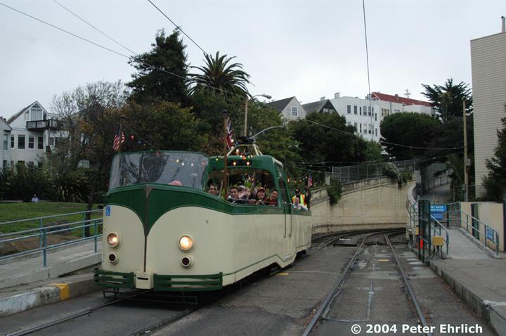 (146k, 720x478)<br><b>Country:</b> United States<br><b>City:</b> San Francisco/Bay Area, CA<br><b>System:</b> SF MUNI<br><b>Line:</b> MUNI Metro (N-Judah)<br><b>Location:</b> Sunset Tunnel West Portal<br><b>Car:</b> Blackpool Boat (English Electric, 1934) 228 <br><b>Photo by:</b> Peter Ehrlich<br><b>Date:</b> 10/3/2004<br><b>Notes:</b> At West Portal Sunset Tunnel outbound, N-Judah line.  Market Street Railway open house charter.<br><b>Viewed (this week/total):</b> 0 / 2902