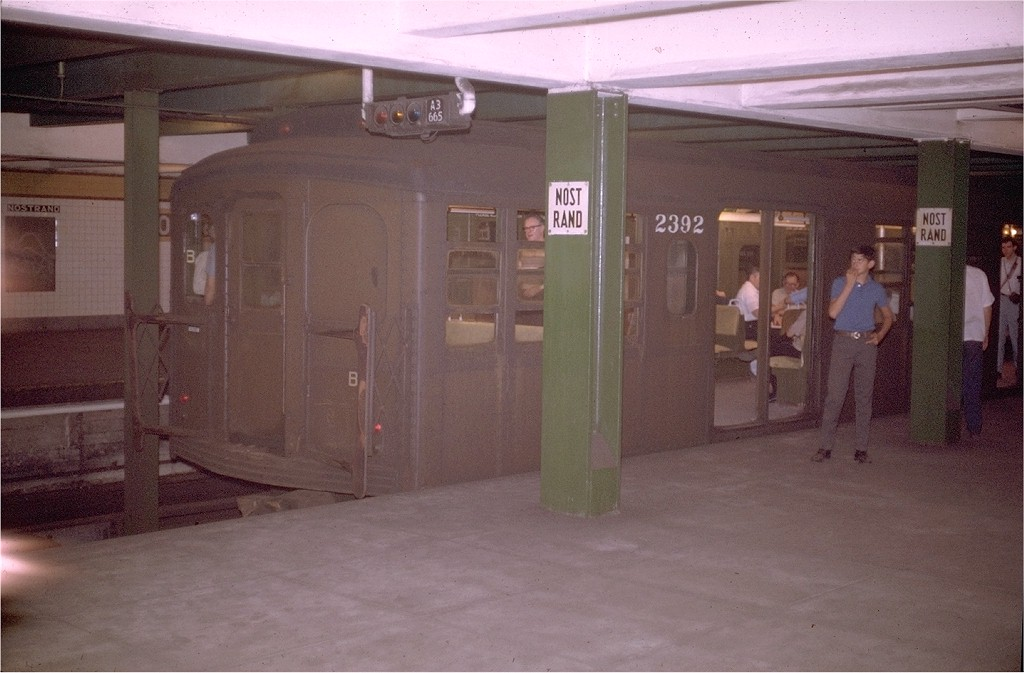 (161k, 1024x673)<br><b>Country:</b> United States<br><b>City:</b> New York<br><b>System:</b> New York City Transit<br><b>Line:</b> IND Fulton Street Line<br><b>Location:</b> Nostrand Avenue<br><b>Route:</b> Fan Trip<br><b>Car:</b> BMT A/B-Type Standard 2392 <br><b>Photo by:</b> Doug Grotjahn<br><b>Collection of:</b> Joe Testagrose<br><b>Date:</b> 8/23/1969<br><b>Notes:</b> Upper level.<br><b>Viewed (this week/total):</b> 8 / 5825