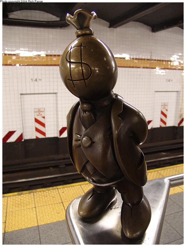 (176k, 790x1047)<br><b>Country:</b> United States<br><b>City:</b> New York<br><b>System:</b> New York City Transit<br><b>Line:</b> IND 8th Avenue Line<br><b>Location:</b> 14th Street<br><b>Photo by:</b> Richard Panse<br><b>Date:</b> 12/15/2004<br><b>Artwork:</b> <i>Life Underground</i>, Tom Otterness, 2000<br><b>Viewed (this week/total):</b> 0 / 4353