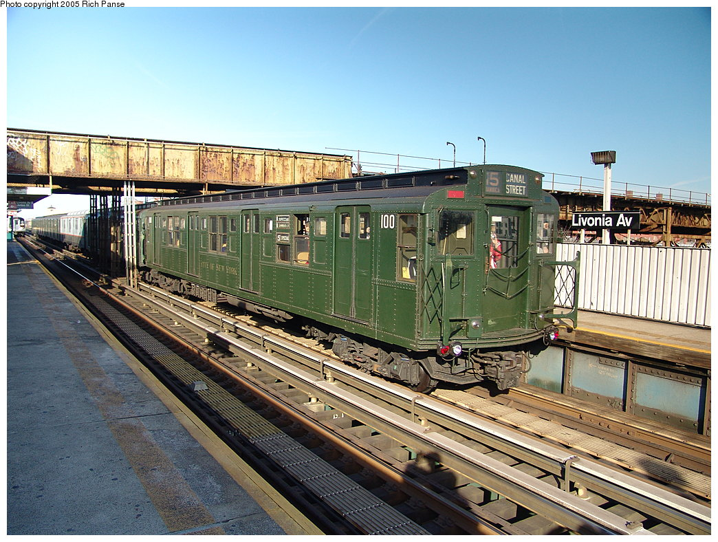 (261k, 1044x788)<br><b>Country:</b> United States<br><b>City:</b> New York<br><b>System:</b> New York City Transit<br><b>Line:</b> BMT Canarsie Line<br><b>Location:</b> Livonia Avenue<br><b>Route:</b> Fan Trip<br><b>Car:</b> R-1 (American Car & Foundry, 1930-1931) 100 <br><b>Photo by:</b> Richard Panse<br><b>Date:</b> 1/1/2005<br><b>Viewed (this week/total):</b> 2 / 9741