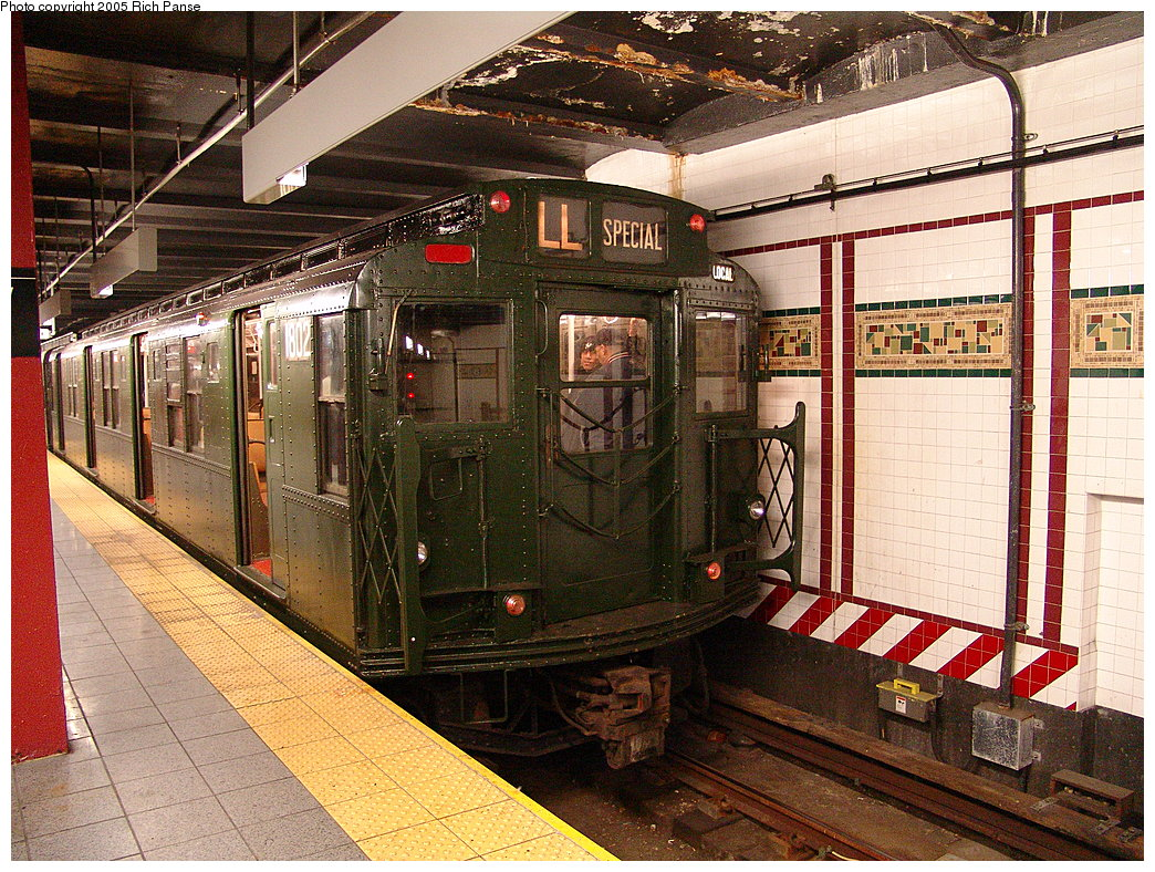 (310k, 1044x788)<br><b>Country:</b> United States<br><b>City:</b> New York<br><b>System:</b> New York City Transit<br><b>Line:</b> BMT Canarsie Line<br><b>Location:</b> 8th Avenue<br><b>Route:</b> Fan Trip<br><b>Car:</b> R-9 (Pressed Steel, 1940) 1802 <br><b>Photo by:</b> Richard Panse<br><b>Date:</b> 1/1/2005<br><b>Viewed (this week/total):</b> 6 / 5213