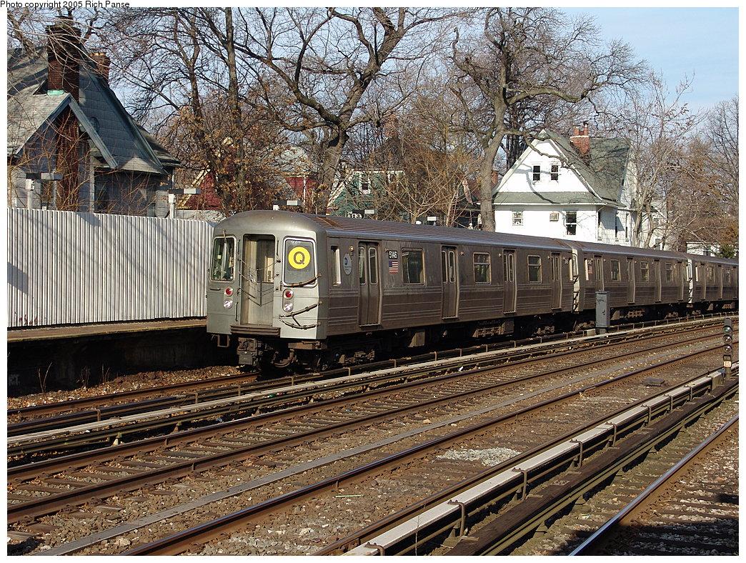 (380k, 1044x788)<br><b>Country:</b> United States<br><b>City:</b> New York<br><b>System:</b> New York City Transit<br><b>Line:</b> BMT Brighton Line<br><b>Location:</b> Avenue H<br><b>Route:</b> Q<br><b>Car:</b> R-68A (Kawasaki, 1988-1989) 5146 <br><b>Photo by:</b> Richard Panse<br><b>Date:</b> 1/1/2005<br><b>Viewed (this week/total):</b> 1 / 4416