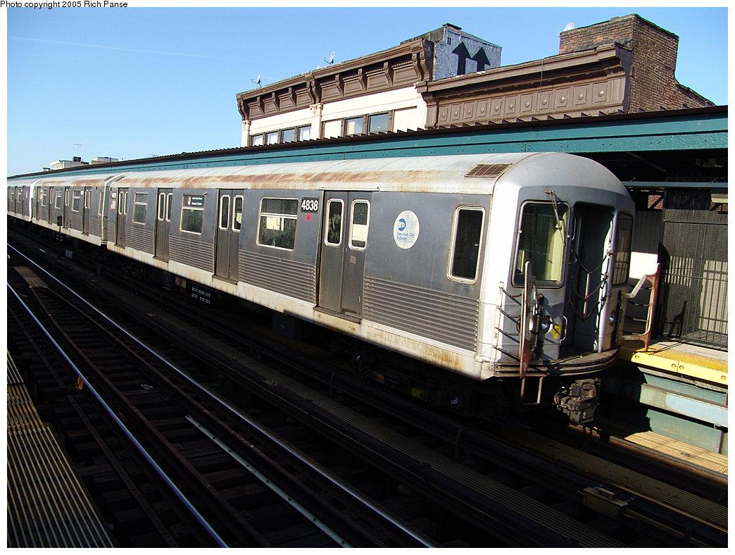 (217k, 1044x788)<br><b>Country:</b> United States<br><b>City:</b> New York<br><b>System:</b> New York City Transit<br><b>Line:</b> BMT Nassau Street-Jamaica Line<br><b>Location:</b> Hewes Street<br><b>Route:</b> J<br><b>Car:</b> R-42 (St. Louis, 1969-1970) 4838 <br><b>Photo by:</b> Richard Panse<br><b>Date:</b> 1/1/2005<br><b>Viewed (this week/total):</b> 1 / 3669