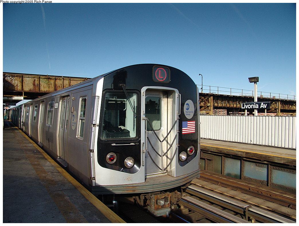 (205k, 1044x788)<br><b>Country:</b> United States<br><b>City:</b> New York<br><b>System:</b> New York City Transit<br><b>Line:</b> BMT Canarsie Line<br><b>Location:</b> Livonia Avenue<br><b>Route:</b> L<br><b>Car:</b> R-143 (Kawasaki, 2001-2002) 8281 <br><b>Photo by:</b> Richard Panse<br><b>Date:</b> 1/1/2005<br><b>Viewed (this week/total):</b> 4 / 3720