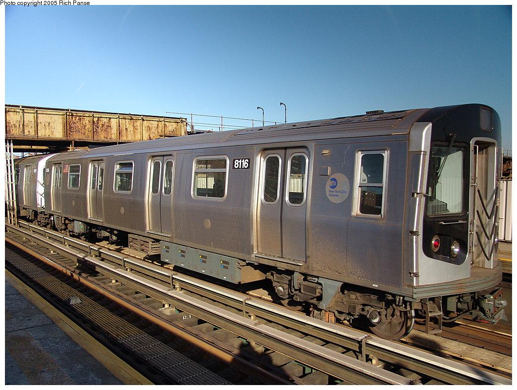 (234k, 1044x788)<br><b>Country:</b> United States<br><b>City:</b> New York<br><b>System:</b> New York City Transit<br><b>Line:</b> BMT Canarsie Line<br><b>Location:</b> Livonia Avenue<br><b>Route:</b> L<br><b>Car:</b> R-143 (Kawasaki, 2001-2002) 8116 <br><b>Photo by:</b> Richard Panse<br><b>Date:</b> 1/1/2005<br><b>Viewed (this week/total):</b> 2 / 5296