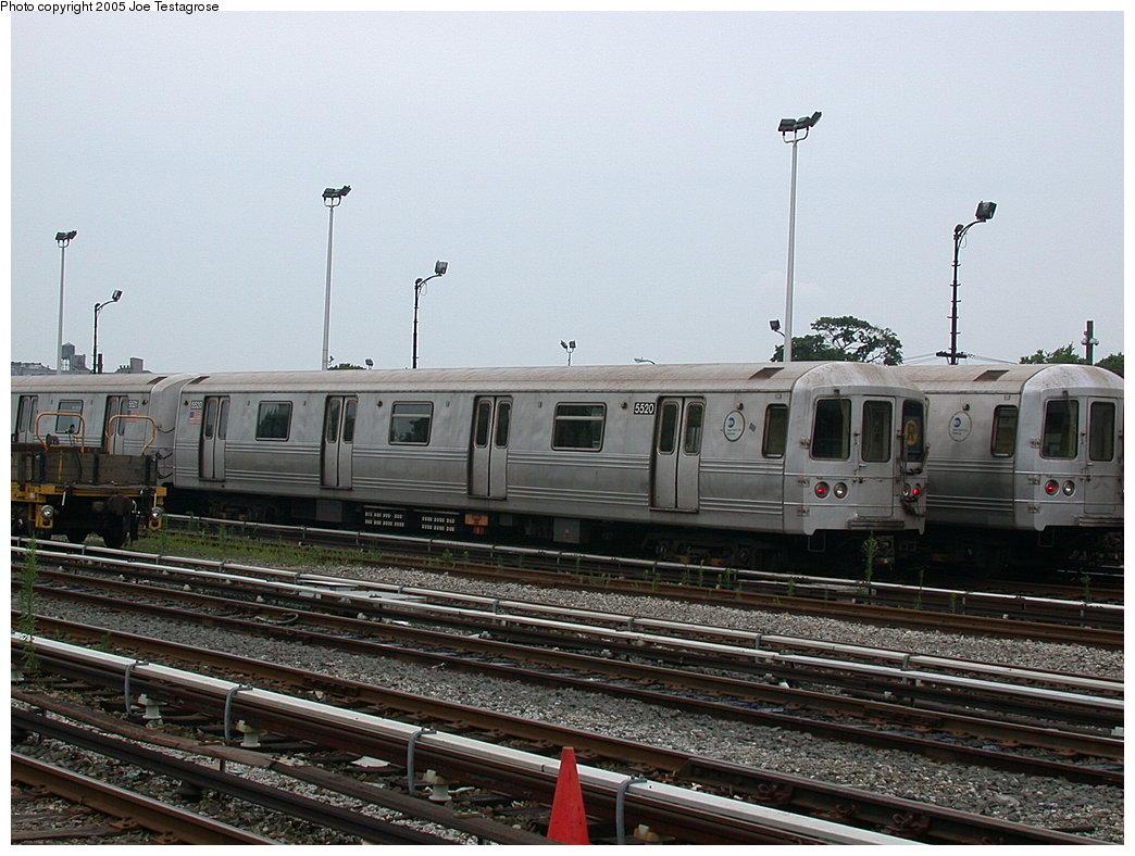 (216k, 1044x788)<br><b>Country:</b> United States<br><b>City:</b> New York<br><b>System:</b> New York City Transit<br><b>Location:</b> 36th Street Yard<br><b>Car:</b> R-46 (Pullman-Standard, 1974-75) 5520 <br><b>Photo by:</b> Joe Testagrose<br><b>Date:</b> 7/18/2004<br><b>Viewed (this week/total):</b> 1 / 5844