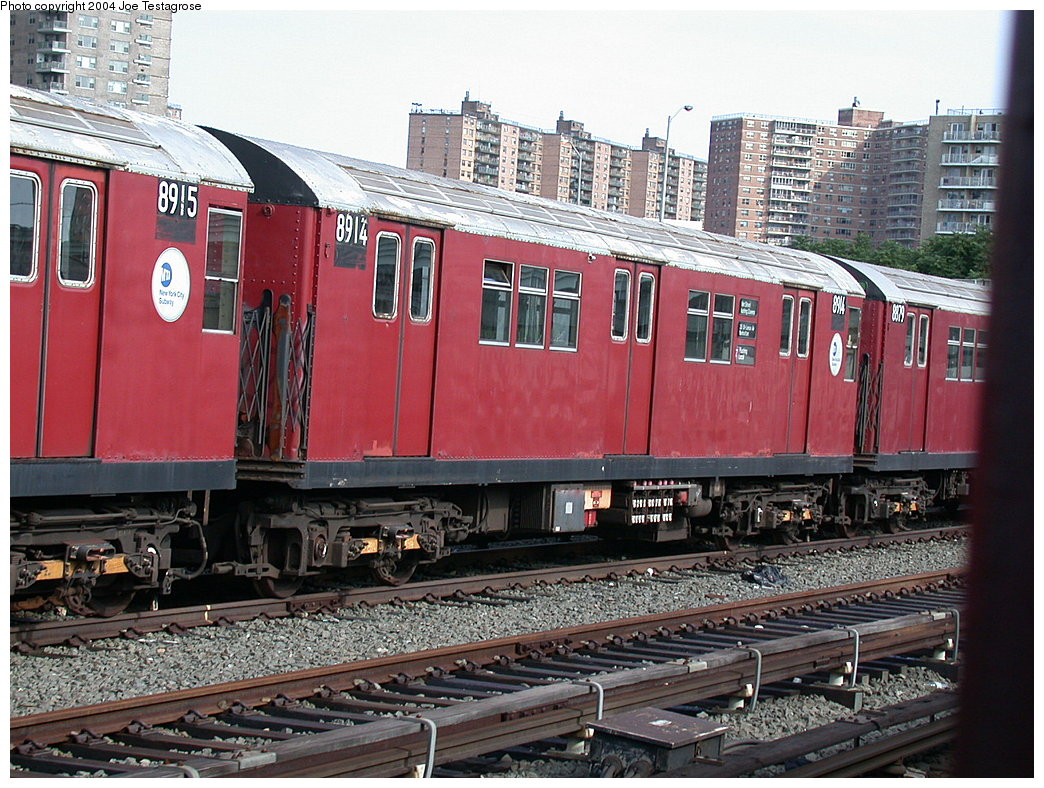 (266k, 1044x788)<br><b>Country:</b> United States<br><b>City:</b> New York<br><b>System:</b> New York City Transit<br><b>Location:</b> Coney Island Yard<br><b>Car:</b> R-33 Main Line (St. Louis, 1962-63) 8914 <br><b>Photo by:</b> Joe Testagrose<br><b>Date:</b> 7/25/2004<br><b>Viewed (this week/total):</b> 1 / 3739