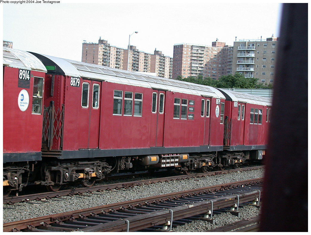 (235k, 1044x788)<br><b>Country:</b> United States<br><b>City:</b> New York<br><b>System:</b> New York City Transit<br><b>Location:</b> Coney Island Yard<br><b>Car:</b> R-33 Main Line (St. Louis, 1962-63) 8879 <br><b>Photo by:</b> Joe Testagrose<br><b>Date:</b> 7/25/2004<br><b>Viewed (this week/total):</b> 2 / 3592