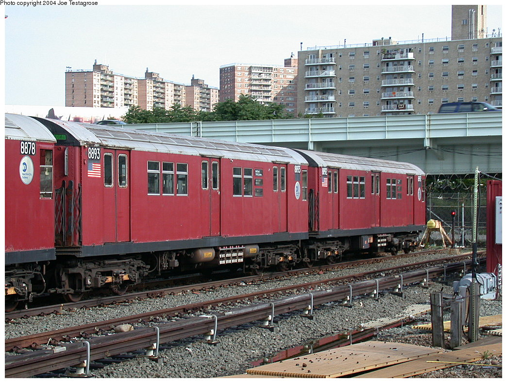 (280k, 1044x788)<br><b>Country:</b> United States<br><b>City:</b> New York<br><b>System:</b> New York City Transit<br><b>Location:</b> Coney Island Yard<br><b>Car:</b> R-33 Main Line (St. Louis, 1962-63) 8893 <br><b>Photo by:</b> Joe Testagrose<br><b>Date:</b> 7/25/2004<br><b>Viewed (this week/total):</b> 1 / 3498