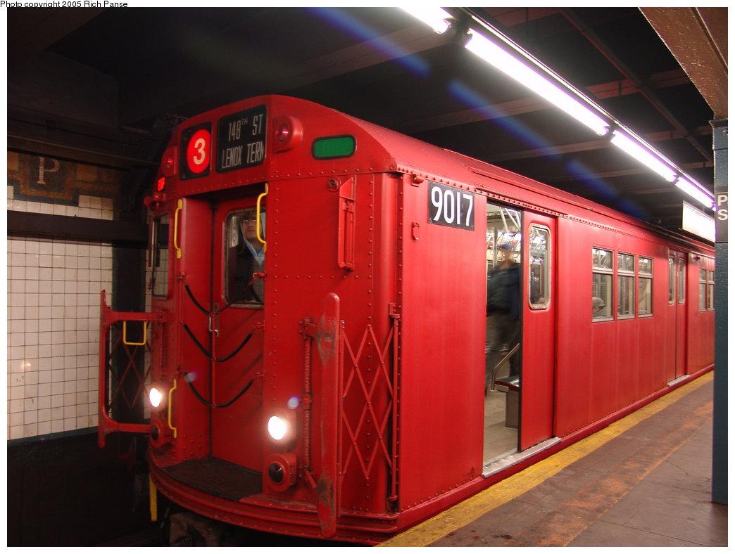 (162k, 1044x788)<br><b>Country:</b> United States<br><b>City:</b> New York<br><b>System:</b> New York City Transit<br><b>Line:</b> IRT Brooklyn Line<br><b>Location:</b> President Street<br><b>Route:</b> Fan Trip<br><b>Car:</b> R-33 Main Line (St. Louis, 1962-63) 9017 <br><b>Photo by:</b> Richard Panse<br><b>Date:</b> 2/27/2005<br><b>Viewed (this week/total):</b> 2 / 6742