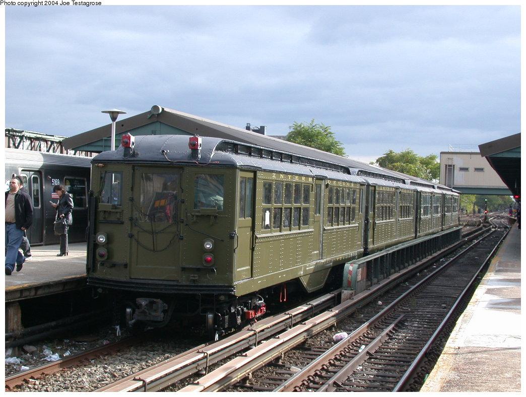 (216k, 1044x788)<br><b>Country:</b> United States<br><b>City:</b> New York<br><b>System:</b> New York City Transit<br><b>Line:</b> BMT Brighton Line<br><b>Location:</b> Kings Highway<br><b>Route:</b> Fan Trip<br><b>Car:</b> Low-V (Museum Train) 5443 <br><b>Photo by:</b> Joe Testagrose<br><b>Date:</b> 10/23/2004<br><b>Viewed (this week/total):</b> 1 / 3638