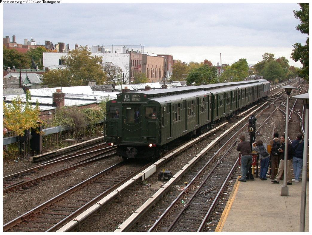 (260k, 1044x788)<br><b>Country:</b> United States<br><b>City:</b> New York<br><b>System:</b> New York City Transit<br><b>Line:</b> BMT Brighton Line<br><b>Location:</b> Kings Highway<br><b>Route:</b> Fan Trip<br><b>Car:</b> R-1 (American Car & Foundry, 1930-1931) 100 <br><b>Photo by:</b> Joe Testagrose<br><b>Date:</b> 10/23/2004<br><b>Viewed (this week/total):</b> 6 / 3916