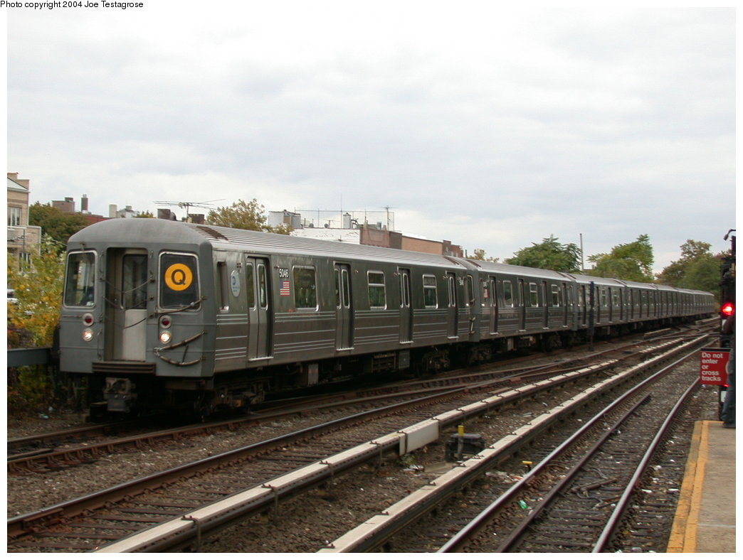 (183k, 1044x788)<br><b>Country:</b> United States<br><b>City:</b> New York<br><b>System:</b> New York City Transit<br><b>Line:</b> BMT Brighton Line<br><b>Location:</b> Kings Highway<br><b>Route:</b> Q<br><b>Car:</b> R-68A (Kawasaki, 1988-1989) 5046 <br><b>Photo by:</b> Joe Testagrose<br><b>Date:</b> 10/23/2004<br><b>Viewed (this week/total):</b> 2 / 3784