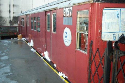 (34k, 480x319)<br><b>Country:</b> United States<br><b>City:</b> New York<br><b>System:</b> New York City Transit<br><b>Location:</b> NYPD Emergency Services training facility, Floyd Bennett Field<br><b>Car:</b> R-33 Main Line (St. Louis, 1962-63) 9157 <br><b>Photo by:</b> J. Dresner<br><b>Date:</b> 3/2/2005<br><b>Viewed (this week/total):</b> 4 / 5711